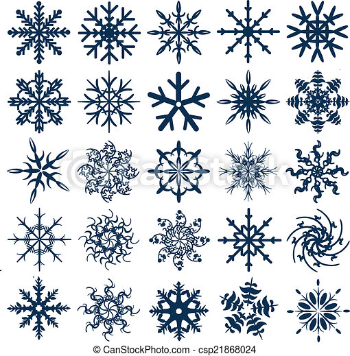 Colección de copos de nieve vector azul - csp21868024