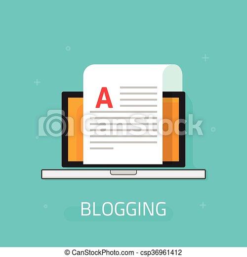 Icono vector Blogging aislado en el fondo azul, hoja de papel portátil - csp36961412