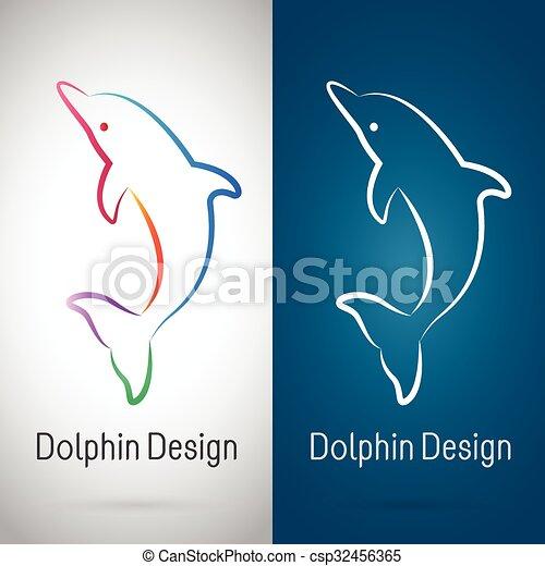Imágenes de un diseño de delfines sobre fondo blanco y fondo azul, Logo, Simbolo - csp32456365
