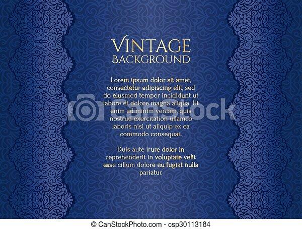 Antecedentes vintage de lujo azul con adorno floral - csp30113184
