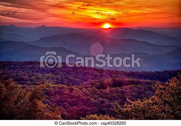 azul, verão, cume, montanhas, appalachian, pôr do sol, parkway - csp40328260
