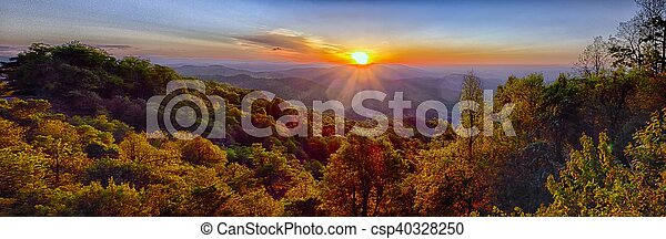 azul, verão, cume, montanhas, appalachian, pôr do sol, parkway - csp40328250