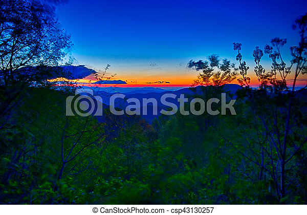 azul, verão, cume, montanhas, appalachian, pôr do sol, parkway - csp43130257