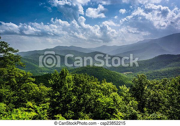 azul, verão, montanhas, ridg, appalachian, nebuloso, vista - csp23852215
