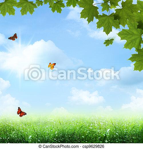 azul, verão, primavera, abstratos, fundos, sob, skies. - csp9629826