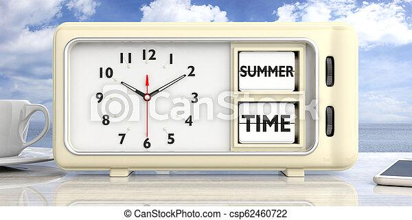 Texto de tiempo de verano en retro despertador, fondo azul cielo. Ilustración 3D. - csp62460722