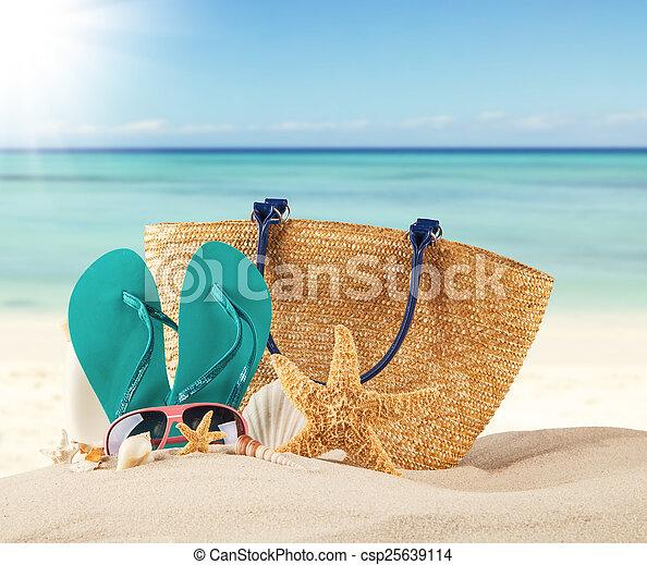 Playa de verano con sandalias azules y conchas - csp25639114