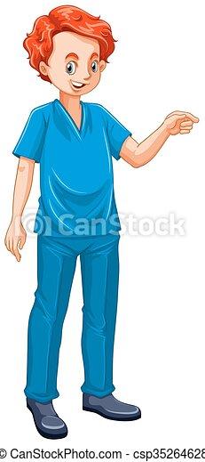 Un veterinario vestido con uniforme azul - csp35264628