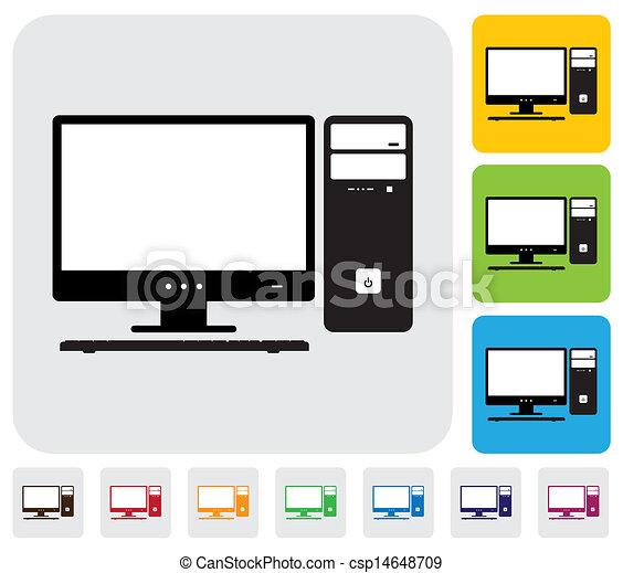 azul, vetorial, útil, coloridos, ícones, simples, site web, graphic., &, fundos, ilustração, desktop, cpu, tela, computador, keyboard-, tem, verde - csp14648709