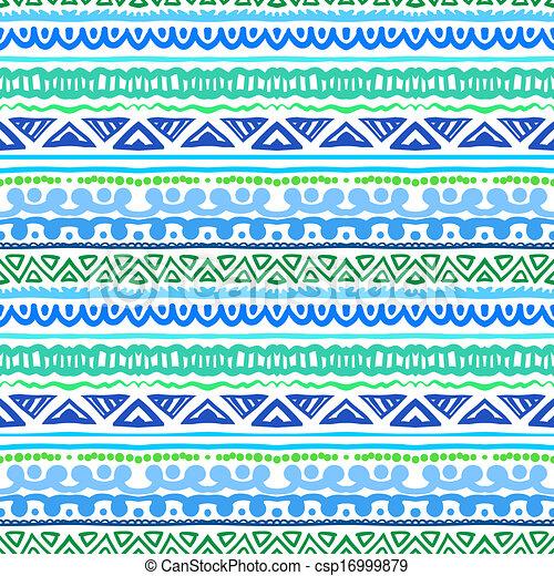 azul, vibrante, étnico, verde, padrão, listrado - csp16999879