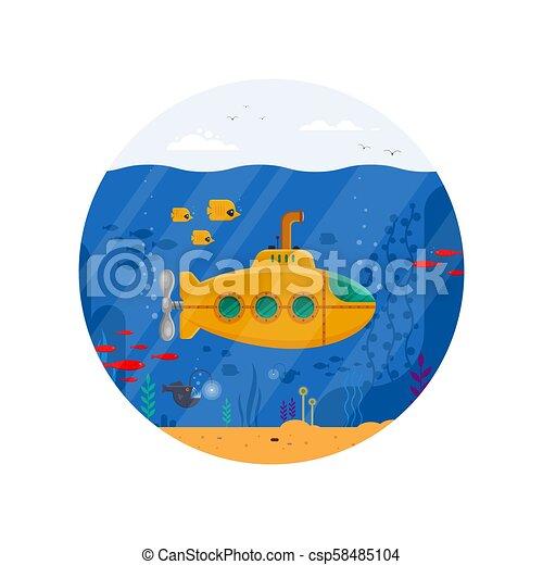 submarino amarillo con el periscopio concepto submarino en círculo. Vida marina con peces, coral, algas marinas, paisaje azul colorido del océano. La plantilla de Bathyscaphe - ilustración del vector plano - csp58485104