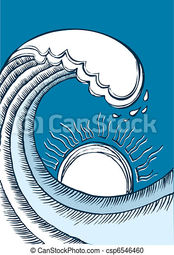 azul, wave., ilustração, vetorial, mar, abstratos - csp6546460
