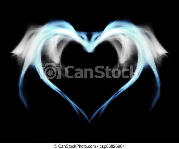 azul, wings., humo, helado, corazón, fuego - csp86826964