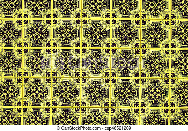 Azulejo background, portuguese or moroccan, tiles, arabic wall design - Lisbon, Portugal December 26, 2016 - csp46521209