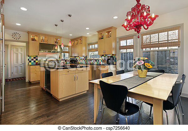 Azulejo, coloreado, backsplash, cocina. Coloreado, roble ...