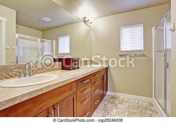 Azulejo, elegante, cuarto de baño, floor. Cuarto de baño, elegante ...