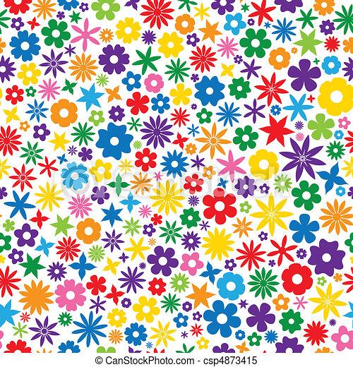 azulejo, flor, coloridos - csp4873415