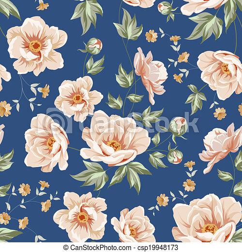Patrón de azulejos florales. - csp19948173