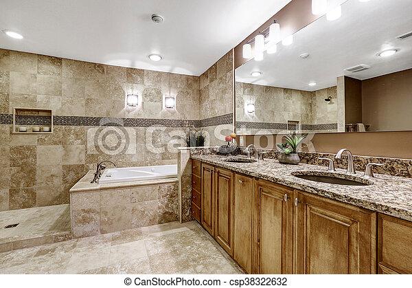 Azulejo, interior, cuarto de baño, lujo, floor. Condición, marrón ...