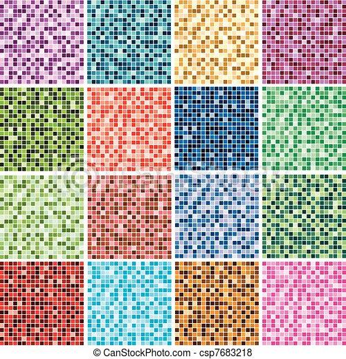 azulejo, resumen, fondos, colorido - csp7683218