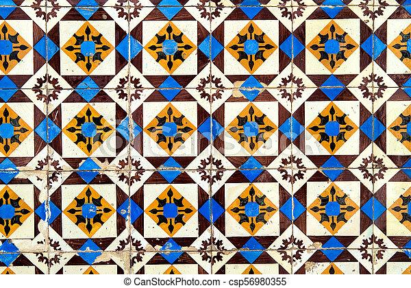 Decoración de baldosas de cerámica antigua. Antecedentes de baldosas - csp56980355