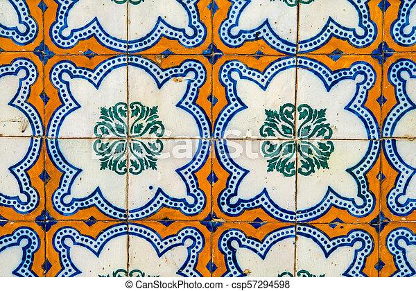 Decoración de baldosas de cerámica antigua. Antecedentes de baldosas - csp57294598