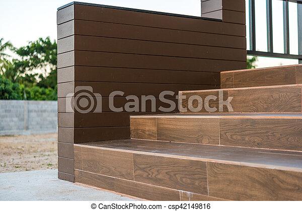 Azulejos escalera piso patr n cer mico madera for Escalera madera sodimac