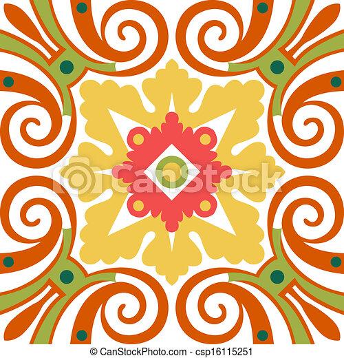 Viejos azulejos florales - csp16115251