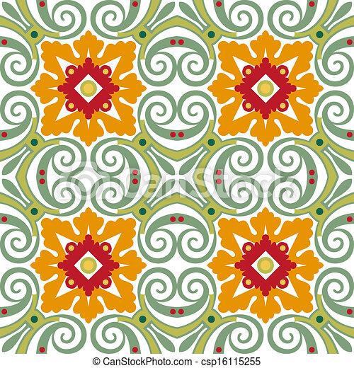 Viejos azulejos florales - csp16115255