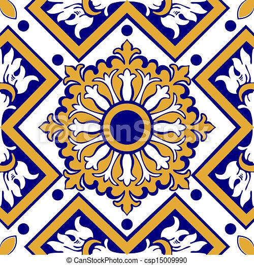 Viejas azulejos florales - csp15009990