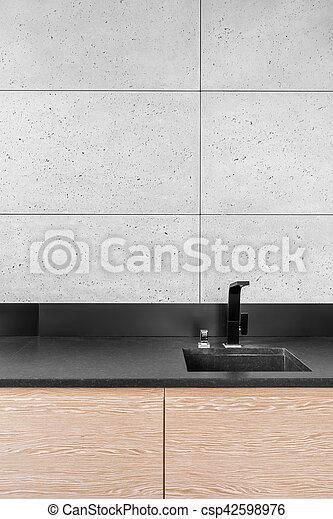 Azulejos, moderno, gris, cocina. Azulejos, pared, moderno,... imagen ...