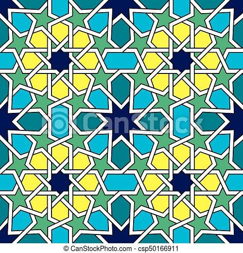 Patrón de baldosas marroquíes, diseño de vectores moros, azulejos abstractos geométricos - csp50166911