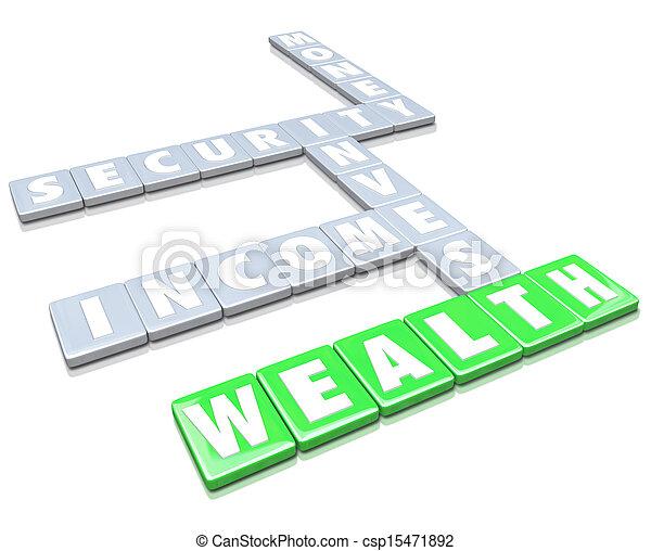 azulejos, riqueza, dinheiro, letra, renda, fazer, palavras, crescer - csp15471892