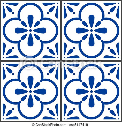 Azulejos vector tiles pattern, portuguese seamless blue... eps ...