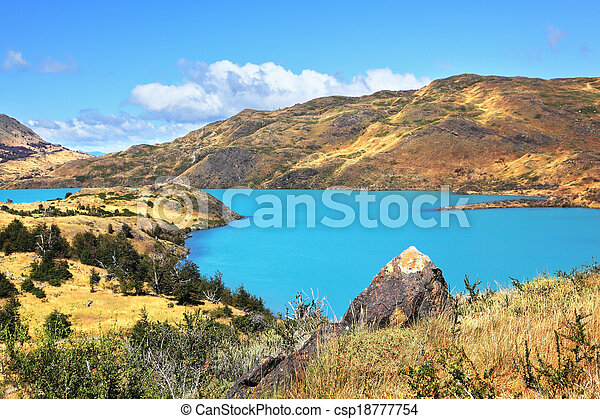Azure water of Lake Pehoe  - csp18777754