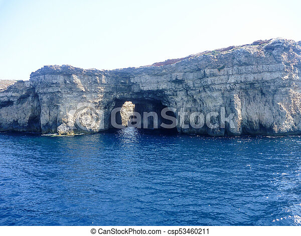 Azure Window, famous stone arch of Gozo island - csp53460211