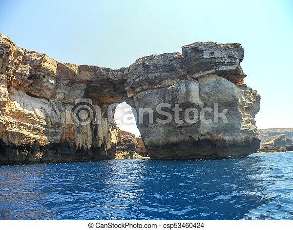Azure Window, famous stone arch of Gozo island - csp53460424