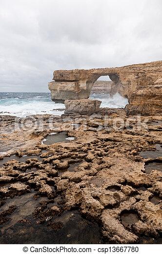 Azure Window, famous stone arch on Gozo island, Malta - csp13667780