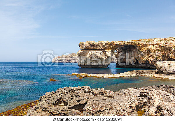 Azure Window, stone arch of Gozo, Malta - csp15232094