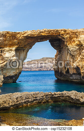 Azure Window, stone arch of Gozo, Malta - csp15232108