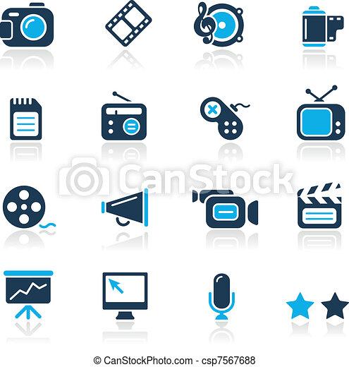 azzurro, multimedia, /, icone - csp7567688