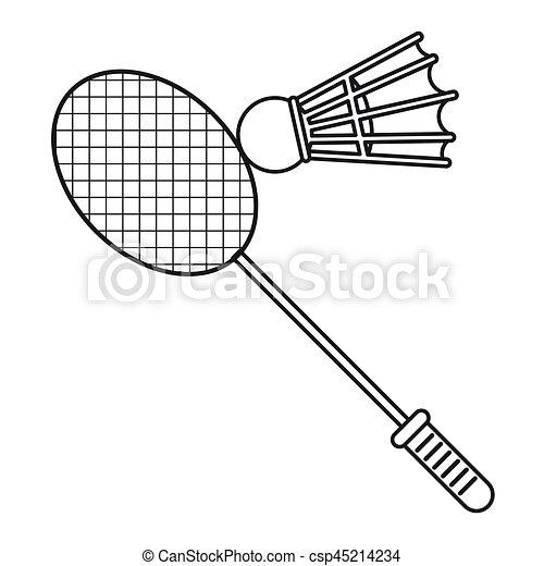 Bádminton, volante, delgado, raqueta, línea, deporte. 10 ...