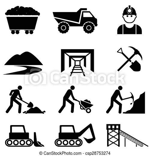bányászás, állhatatos, bányász, ikon - csp28753274