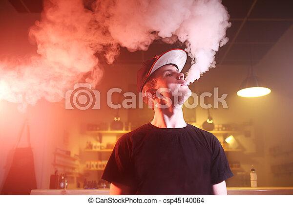 bár, vape, vaping, gőz, felhő, ember - csp45140064