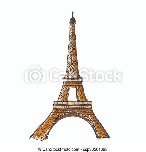 bástya, eiffel, paris., franciaország - csp30581093