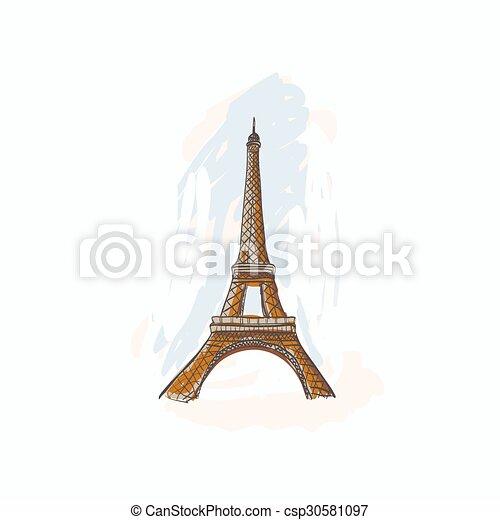 bástya, eiffel, paris., franciaország - csp30581097