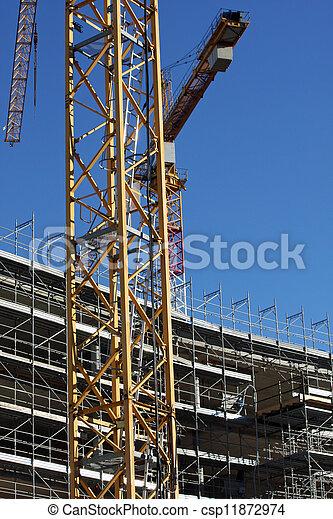 bâtiment, échafaudage, grues, site, construction, pendant - csp11872974