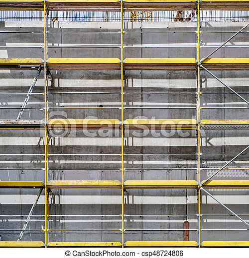 bâtiment, échafaudage, site, construction, façade - csp48724806