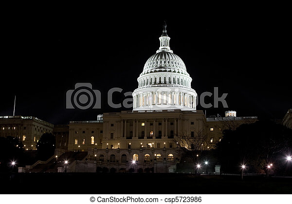 bâtiment, éclairé, washington dc, nous, dôme, nuit, capitole - csp5723986