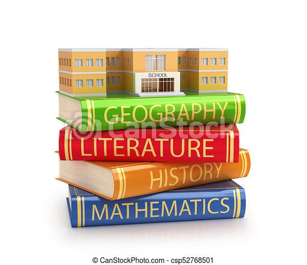 bâtiment, école, concept, disposition, scolarité, diplôme, illustration, localisé, books., 3d - csp52768501